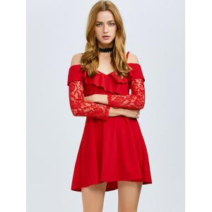 Cold Shoulder Ruffled Lace Party Skater Dress -