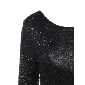 Long Sleeve Sequined Backless Dress -