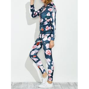 Zippered Jacket and Floral Printed Pants - Blue - L
