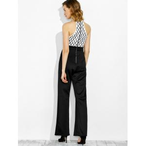 Combinaison jambe large à broderie taille haute -