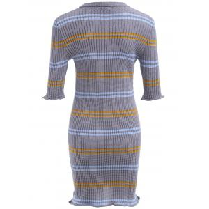 Striped Ribbed Bodycon Sweater Dress -