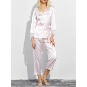 Lace Panel Satin Capri Pajamas Set - Shallow Pink - L