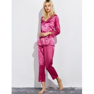 Lace Panel Satin Capri Pajamas Set -