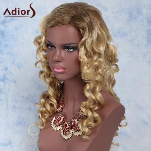 Sparkling Golden Mixed Long Fluffy Curly Side Parting Synthetic Wig - COLORMIX