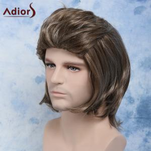 Men Fluffy Mullet Hairstyle Full Bang Mixed Color Cosplay Synthetic Wig - COLORMIX