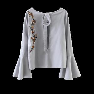 Flare Sleeve Floral Tied Blouse