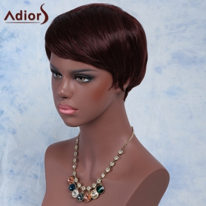 Palm Red Fashion Short Pixie Cut Straight Side Bang Synthetic Wig For Women - RED BROWN