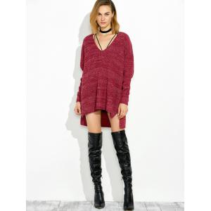 High Low V Neck Oversized Sweater - WINE RED 2XL