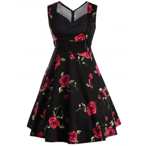 Vest Floral Printed Midi Swing Party Dress - RED/BLACK S