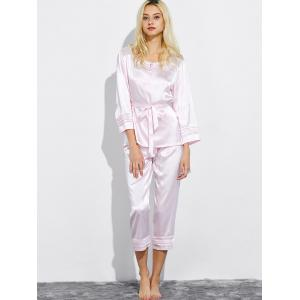 Lace Panel Satin Nightwear Capri Pajamas -