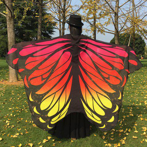 Chic Gradient Color Chiffon Butterfly Wing Scarf Cape RED