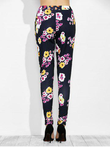 Outfits High Waist Floral Print Leggings with Pockets - L BLACK Mobile