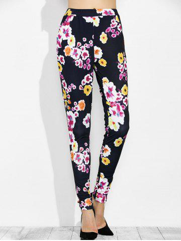 High Waist Floral Print Leggings with Pockets - Black - L