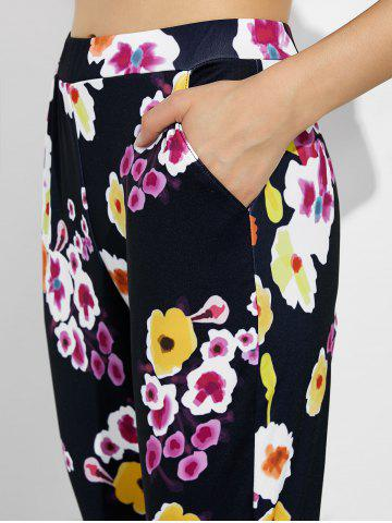 Store High Waist Floral Print Leggings with Pockets - L BLACK Mobile