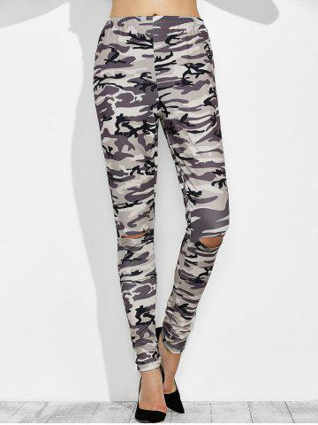 Cheap Camo Print Distressed High Waisted Leggings - S CAMOUFLAGE COLOR Mobile