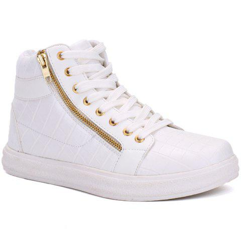 New Embossed Side Zip High Top Casual Shoes