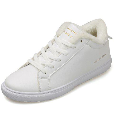 Online Concise Flocking Lace Up Casual Shoes