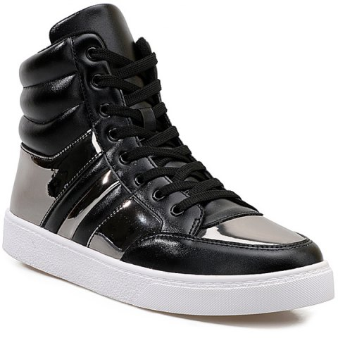 Hot Lace Up Patent Leather Insert Boots