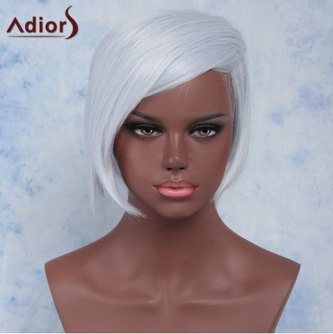 Outfits Straight Short Side Parting High Temperature Fiber Wig SILVER GRAY