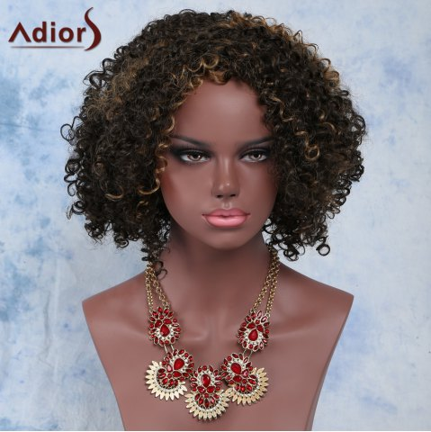 Buy Short Afro Curly Side Bang Synthetic Capless Wig COLORMIX