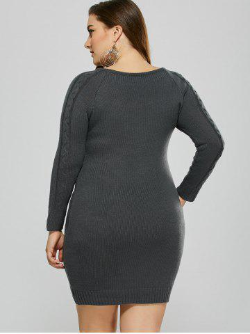 Affordable Plus Size Mini Cable Knit Bodycon Casual Jumper Dress - 5XL DEEP GRAY Mobile