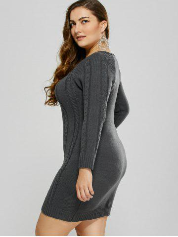 Affordable Plus Size Mini Cable Knit Bodycon Casual Jumper Dress - 4XL DEEP GRAY Mobile