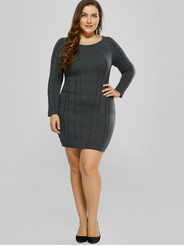 Buy Plus Size Mini Cable Knit Bodycon Casual Jumper Dress - 3XL DEEP GRAY Mobile