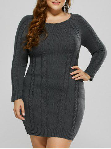 Best Plus Size Mini Cable Knit Bodycon Casual Jumper Dress - 3XL DEEP GRAY Mobile