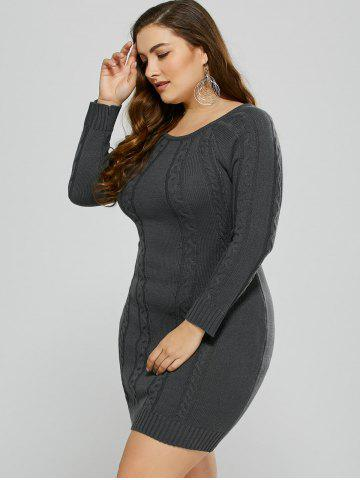 Affordable Plus Size Mini Cable Knit Bodycon Casual Jumper Dress - 2XL DEEP GRAY Mobile