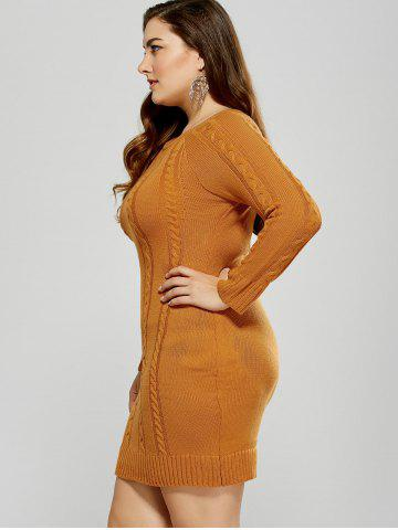 Buy Plus Size Mini Cable Knit Bodycon Casual Jumper Dress - 5XL MANDARIN Mobile