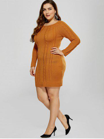 Best Plus Size Mini Cable Knit Bodycon Casual Jumper Dress - 5XL MANDARIN Mobile