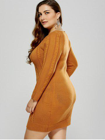 Outfits Plus Size Mini Cable Knit Bodycon Casual Jumper Dress - 2XL MANDARIN Mobile