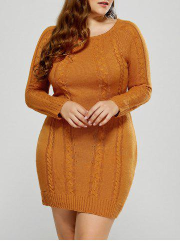 Hot Plus Size Mini Cable Knit Bodycon Casual Jumper Dress - 2XL MANDARIN Mobile