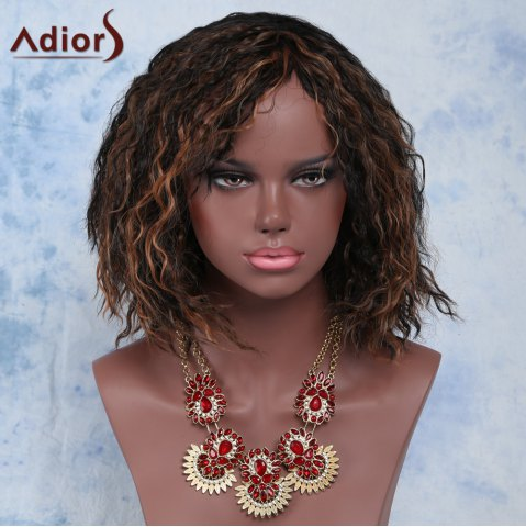 Trendy Short Side Bang Afro Curly Mixed Color Adior Synthetic Wig COLORMIX
