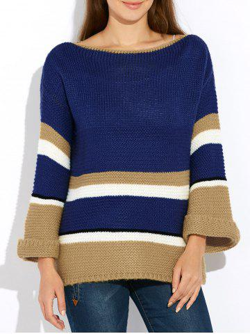 Outfit Flare Sleeve Striped Sweater BLUE ONE SIZE