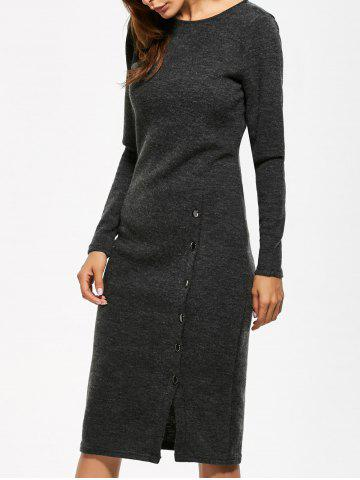 Outfits Button Detailed Long Sleeve Midi Dress GRAY M