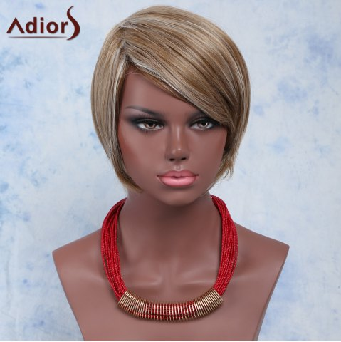 Latest Multi Short Fluffy Straight Side Bang Heat Resistant Fiber Wig COLORMIX
