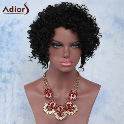 Hot Faddish Side Parting Black Short Fluffy Curly Women's Synthetic Wig BLACK
