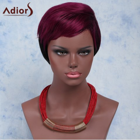 Shops Stylish Red Mixed Black Short Fluffy Capless Straight Full Bang Synthetic Wig For Women
