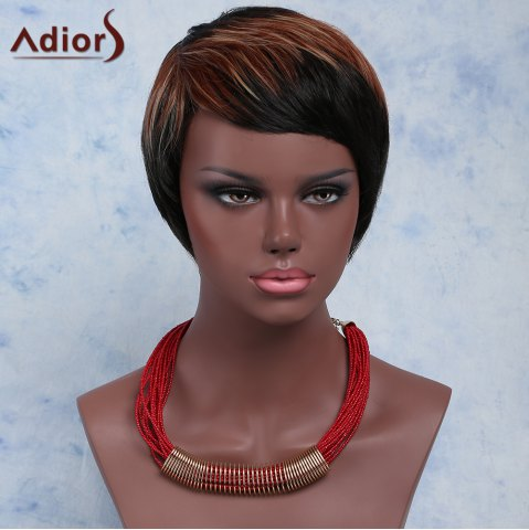 Online Fashion Mixed Color Short Straight Side Bang Women's Synthetic Wig COLORMIX