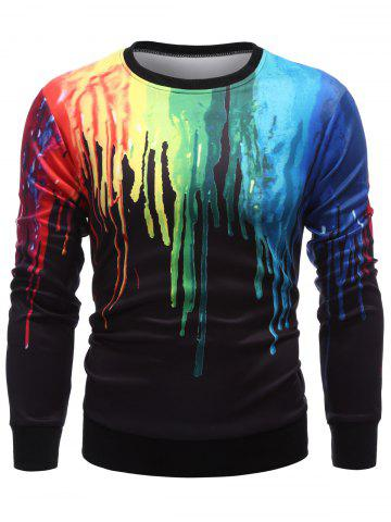 Shop Long Sleeve Paint Dripping Sweatshirt BLACK 2XL