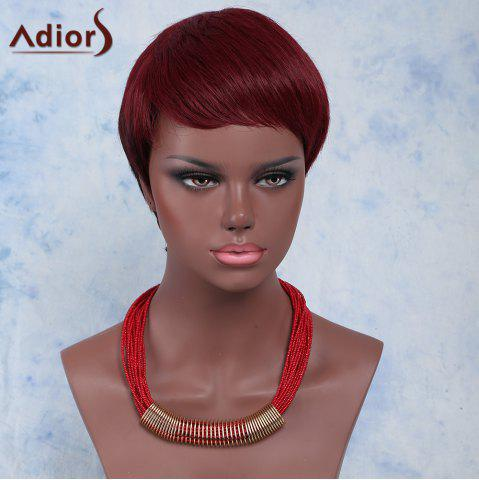 Shop Outstanding Ultrashort Layered Capless Wine Red Straight Synthetic Adiors Wig For Women WINE RED