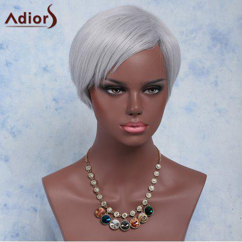 Trendy Attractive Silvery Gray Short Synthetic Straight Side Bang Capless Adiors Wig For Women SILVER GRAY