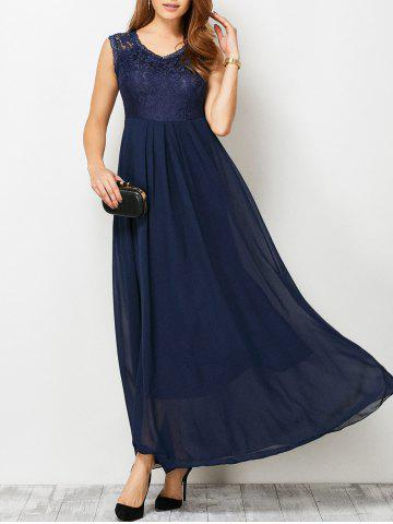Lace Panel Maxi Chiffon Swing Cocktail Prom Dress - Purplish Blue - S