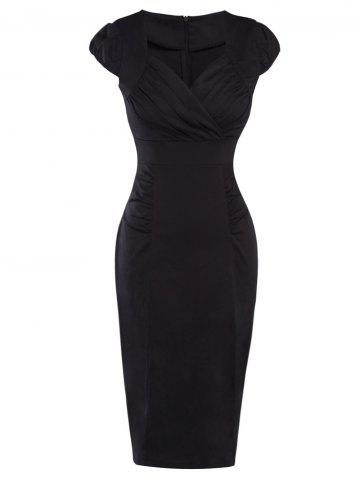 Unique Cap Sleeve Ruched Pencil Dress