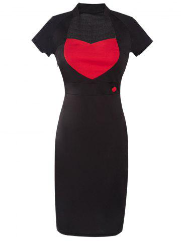 Store Two Tone Pencil Dress RED WITH BLACK 2XL