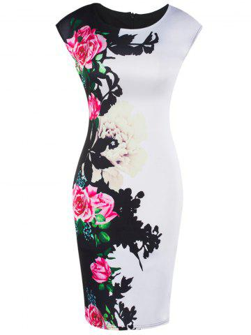 Outfits Cap Sleeve Floral Slimming Dress