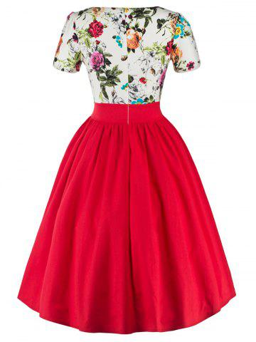 Discount Single Breasted Floral 1950s Swing Dress - 2XL RED Mobile