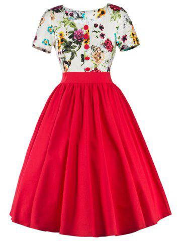 Trendy Single Breasted Floral 1950s Swing Dress - S RED Mobile