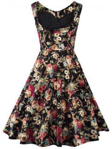 Discount Floral Sleeveless Swing Dress